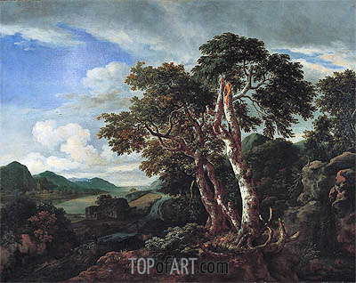 Three Great Trees in a Mountainous Landscape with a River, c.1665/70 | Ruisdael | Gemälde Reproduktion