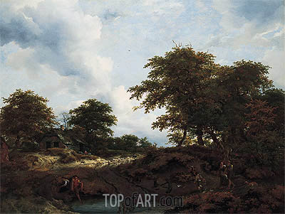 Woody Landscape with a Pool and Figures, c.1660   Ruisdael   Gemälde Reproduktion