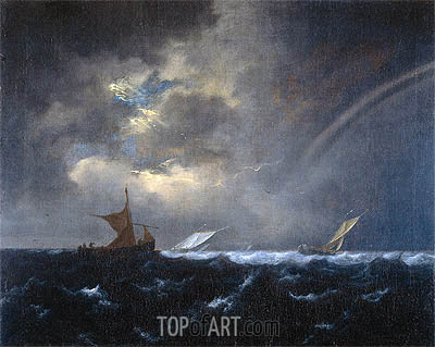 Ship in Rough Sea, 1655 | Ruisdael | Gemälde Reproduktion