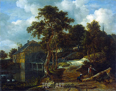 Landscape with Watermill, 1661 | Ruisdael | Gemälde Reproduktion