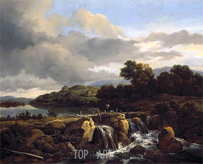 Landscape with Cascade, c.1670/75 | Ruisdael | Painting Reproduction