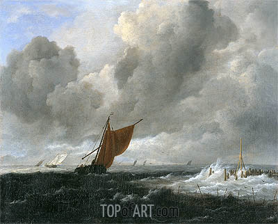Stormy Sea with Sailing Vessels, c.1668 | Ruisdael | Gemälde Reproduktion