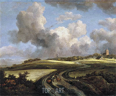 Road through Fields of Corn near the Zuider Zee, c.1660/62 | Ruisdael | Painting Reproduction