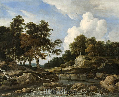 A Wooded River Landscape with a Bridge, undated | Ruisdael | Gemälde Reproduktion