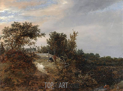 A Landscape with a Stream, 1647 | Ruisdael | Painting Reproduction