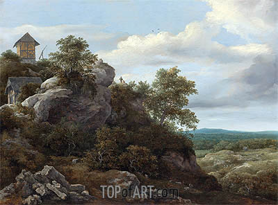 Landscape with Houses on a Rocky Hill, undated | Ruisdael | Gemälde Reproduktion