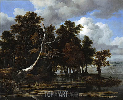 Oaks at a Lake with Water Lilies, undated | Ruisdael | Gemälde Reproduktion