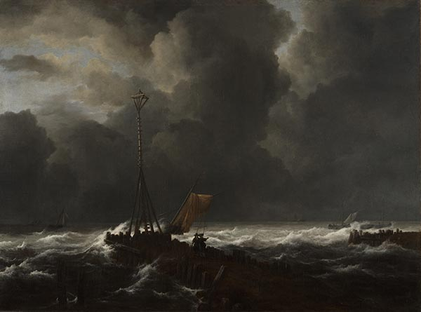 Rough Sea at a Jetty, 1650s | Ruisdael | Painting Reproduction
