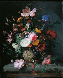 Bunch of Flowers in a Stone Vase, 1677 by Jacob van Walscapelle | Painting Reproduction