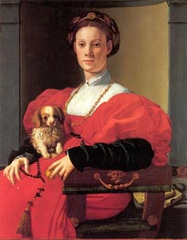 Portrait of a Lady in Red Dress, c.1532/33 von Pontormo | Gemälde-Reproduktion