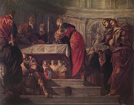 The Presentation of Christ in the Temple, c.1550/55 by Tintoretto | Painting Reproduction