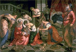 The Birth of John the Baptist, c.1550/59 by Tintoretto | Painting Reproduction