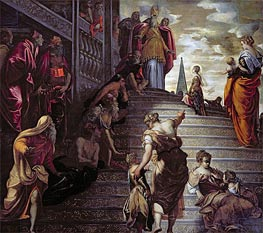 The Presentation of the Virgin, c.1553/56 by Tintoretto | Painting Reproduction