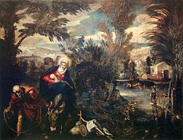The Flight into Egypt, c.1582/87 by Tintoretto | Painting Reproduction