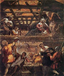 The Adoration of the Shepherds, c.1577/81 by Tintoretto | Painting Reproduction