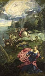 Saint George and the Dragon, c.1553 by Tintoretto | Painting Reproduction
