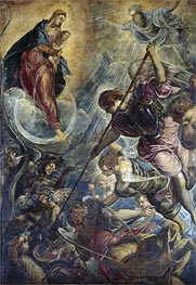 Archangel Michael Fights Satan, c.1590 von Tintoretto | Gemälde-Reproduktion