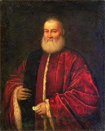 Portrait of an Old Man in Red Robes, Undated von Tintoretto | Gemälde-Reproduktion