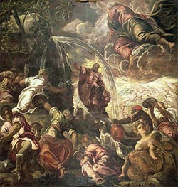 Moses Striking Water from the Rock, 1575 von Tintoretto | Gemälde-Reproduktion