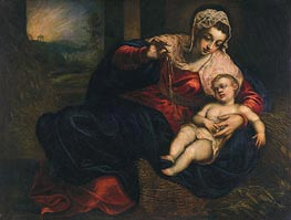 Madonna and Child, c.1570/72 by Tintoretto | Painting Reproduction