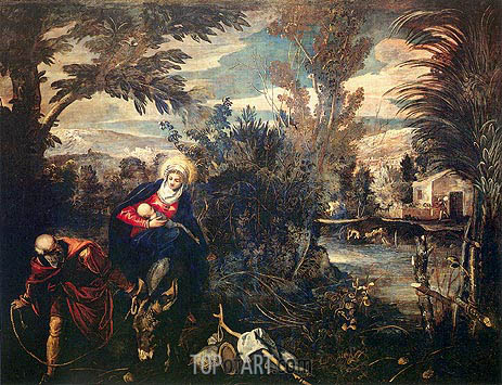The Flight into Egypt, c.1582/87 | Tintoretto | Gemälde Reproduktion
