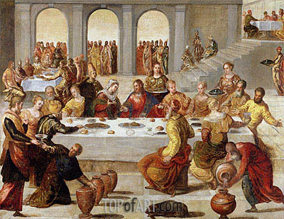 Wedding Feast At Cana.The Wedding Feast At Cana C 1545 By Tintoretto