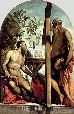 St. Andrew and St. Jerome, Undated | Tintoretto | Gemälde Reproduktion