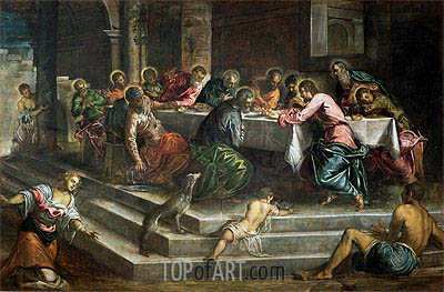 Last Supper, Undated   Tintoretto   Painting Reproduction