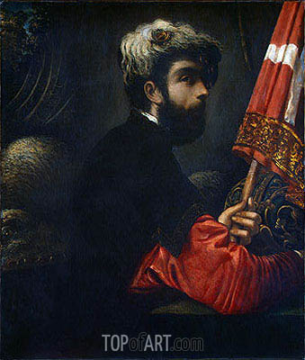 Portrait of a Man as Saint George, c.1540/50 | Tintoretto | Painting Reproduction