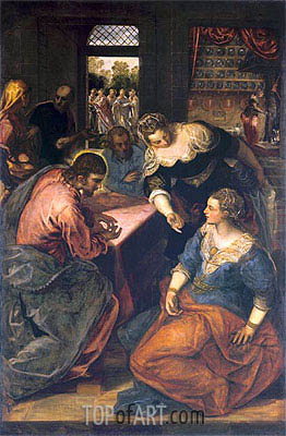 Christ in the House of Mary and Martha, c.1580 | Tintoretto | Gemälde Reproduktion
