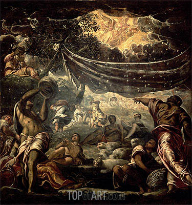 The Fall of Manna, 1577 | Tintoretto | Gemälde Reproduktion