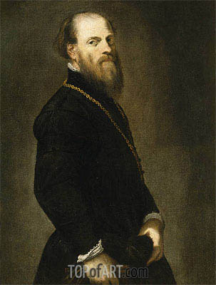 Gentleman with a Gold Chain, c.1555 | Tintoretto | Gemälde Reproduktion