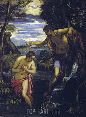 The Baptism of Christ, c.1585 | Tintoretto | Painting Reproduction