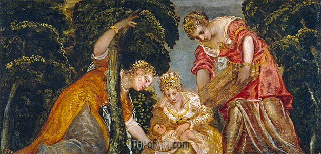 Moses Saved from the Waters, c.1552/55   Tintoretto   Painting Reproduction