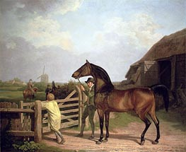 'Bay Ascham', a Stallion Led Through a Gate to a Mare, 1804 by Jacques-Laurent Agasse | Painting Reproduction