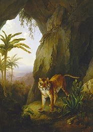 Tiger in a Cave | Jacques-Laurent Agasse | Painting Reproduction