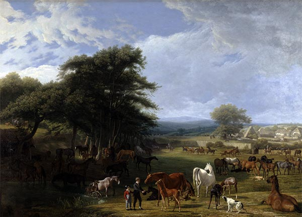 Lord Rivers's Stud Farm, Stratfield Saye, 1807 | Jacques-Laurent Agasse | Gemälde Reproduktion
