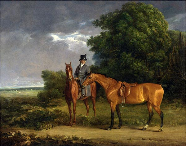 A Groom Mounted on a Chestnut Hunter, He Holds a Bay Hunter by the Reins, undated | Jacques-Laurent Agasse | Gemälde Reproduktion