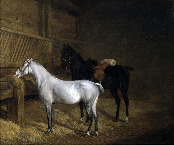 A Grey Pony and a Black Charger in a Stable, 1804 | Jacques-Laurent Agasse | Gemälde Reproduktion