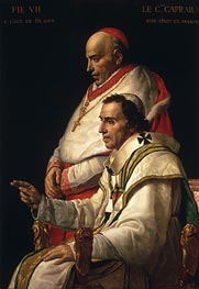 Portrait of Pope Pius VII and Cardinal Caprara, c.1805 by Jacques-Louis David | Painting Reproduction