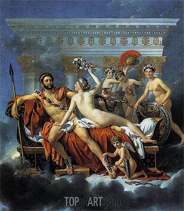 Mars Disarmed by Venus and the Three Graces, 1824 | Jacques-Louis David | Painting Reproduction