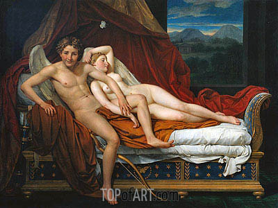 Cupid and Psyche, 1817 | Jacques-Louis David | Painting Reproduction