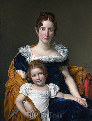 Portrait of the Comtesse Vilain XIIII and Her Daughter, 1816 | Jacques-Louis David | Painting Reproduction