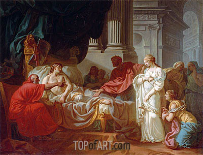 Antiochus and Stratonice, 1774 | Jacques-Louis David | Painting Reproduction