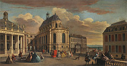 View of the Chapel of the Chateau de Versailles from the Courtyard, c.1725 by Jacques Rigaud | Painting Reproduction