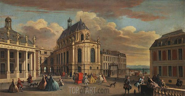 View of the Chapel of the Chateau de Versailles from the Courtyard, c.1725 | Jacques Rigaud | Painting Reproduction