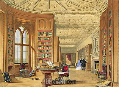 The Library, Windsor Castle, 1838 | James Baker Pyne | Painting Reproduction