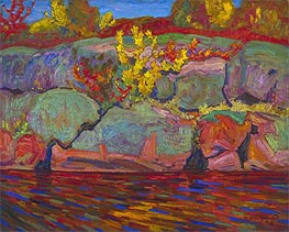 Autumn Colours (Rock and Maple), 1916 by James Edward Hervey Macdonald | Painting Reproduction