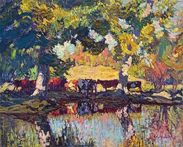 Cattle by the Creek, 1918 by James Edward Hervey Macdonald | Painting Reproduction