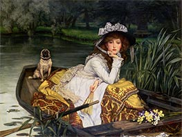 Young Lady in a Boat, c.1870 by Joseph Tissot | Painting Reproduction